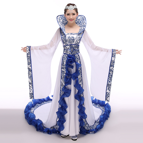 Chinese Folk Dance Dress Blue and white porcelain imperial concubine ancient Chinese costume dance fairy tailed Costume