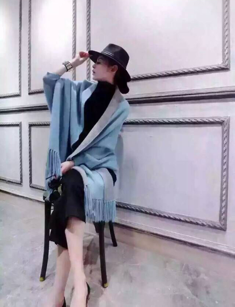 冬装新款中长款斗篷毛呢外套2015韩版流苏披肩宽松蝙蝠袖毛呢大衣