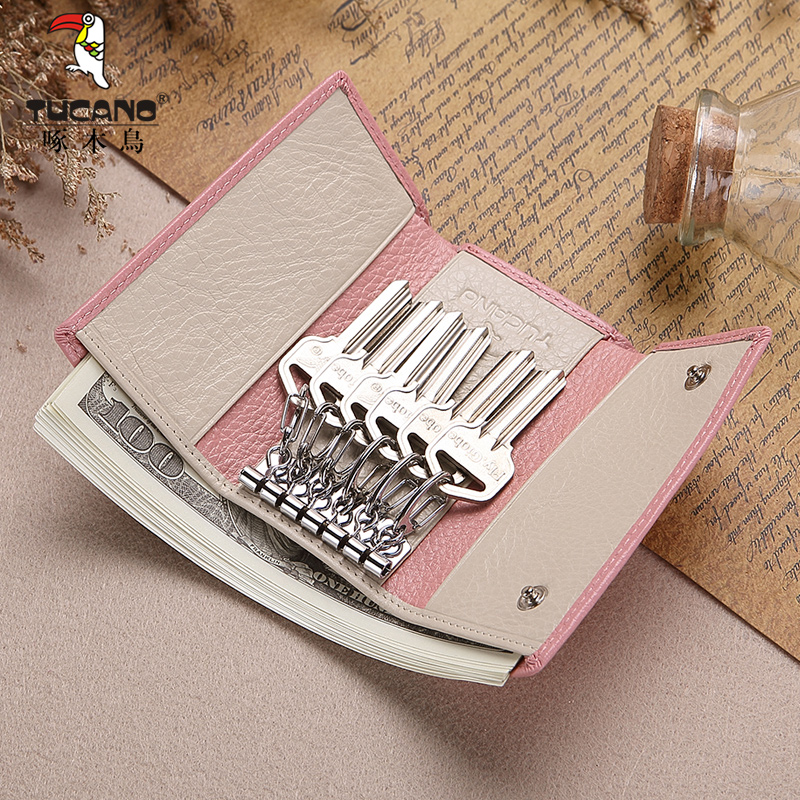 6e5c69532206 Woodpecker lady 2019 new key bag first layer of leather women cute ladies  leather multi-functional female wallet