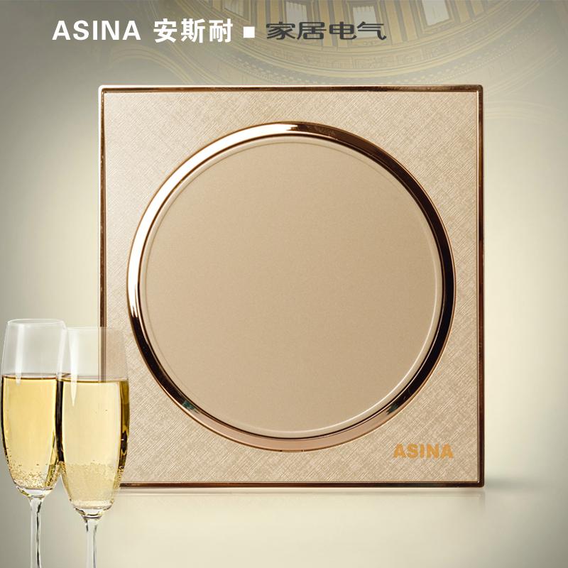 安斯耐墙壁86型香槟金圆形 二开单控 双开单控 二位单联开关面板