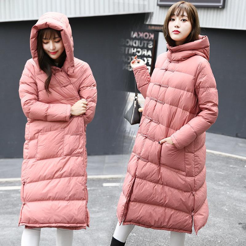 中国民族风羽绒服女中长款过膝冬季轻薄大码女装宽松盘扣复古外套