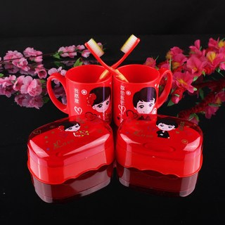 Wedding couple brushing cups, red wash cups, soap box, wedding toiletries set, women's dowry supplies