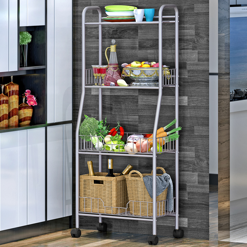Shelf Kitchen Floor Mobile Wheeled Trolley Bedroom Bookshelf Living Room Simple Metal Storage