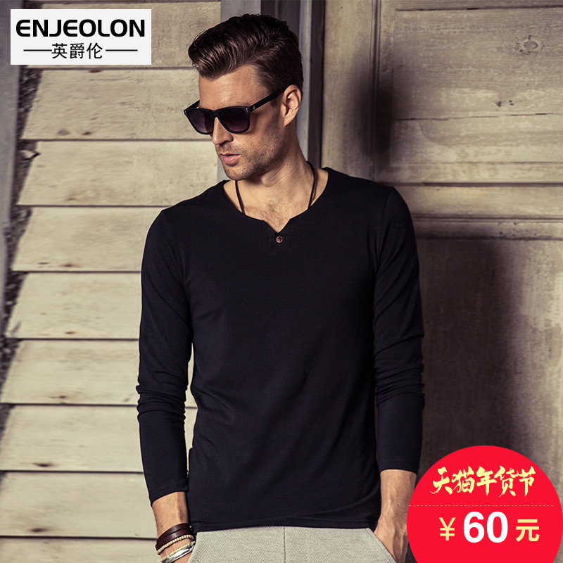 British Viscount fall street fashion new men's fashion solid color v neck Europe and simple button long sleeve bottoming shirt t shirt