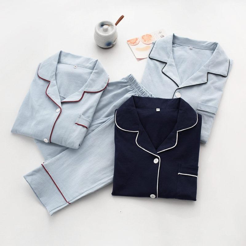 针织棉女士日式睡衣情侣家居服开衫长袖纯棉春秋季男套装居家服