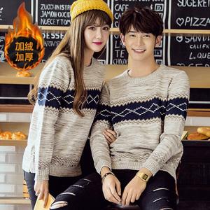 Các cặp vợ chồng mùa thu và mùa đông quần áo mới của Hàn Quốc phiên bản của Slim gió quốc gia áo thun áo len triều nam giới và phụ nữ sinh viên đáy áo len