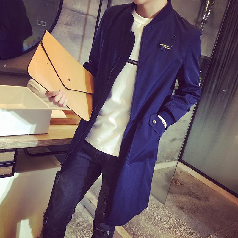 秋冬季欧美风中长款风衣男韩版时尚印花修身型流行男装外套英伦潮