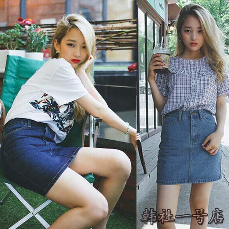 2016夏秋新款纯色修身显瘦大码牛仔一步A字裙女夏半身短裙包臀裙