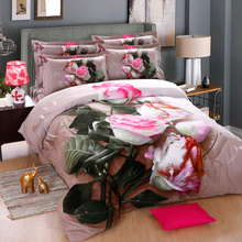 Xuejingling cotton thickened matte 4-piece set 3D three-dimensional reactive printing bed products double cotton 4-piece Set Wedding