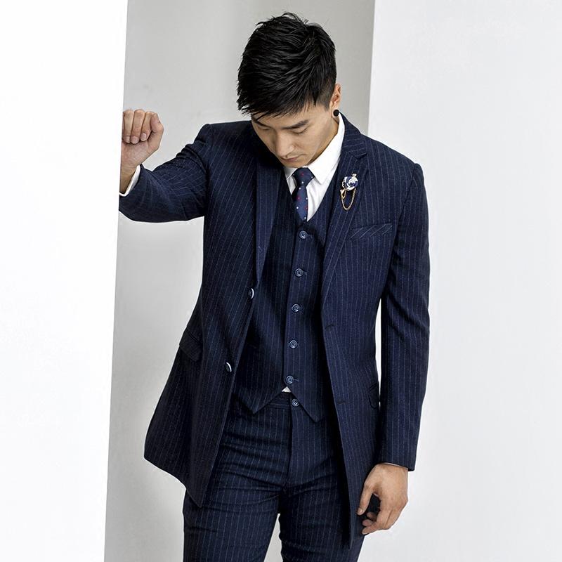 男士中长款竖条纹西装韩版修身商务休闲西服外套春秋季正装单西