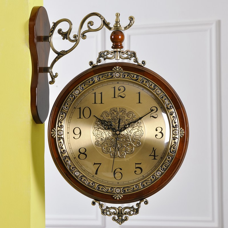 Annabel Double Sided Clock Living Room Wall European Solid