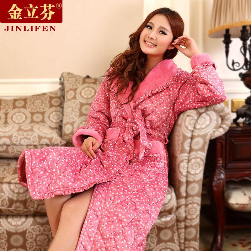 睡袍女冬季加厚加长款睡袍珊瑚绒夹棉冬天睡袍加厚法兰绒女款浴袍