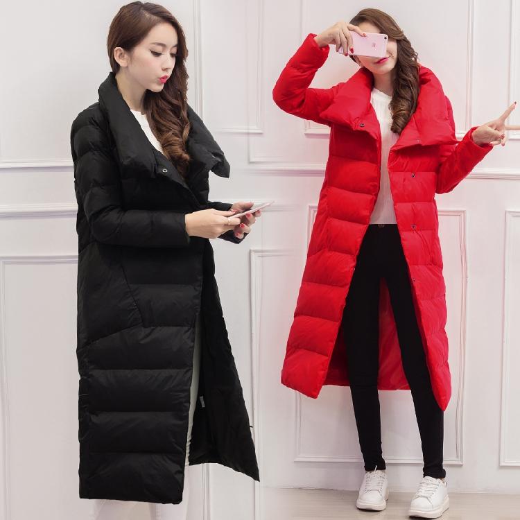 2016冬季新款韩版修身显瘦中长款保暖PU皮羽绒服真毛领加厚外套潮