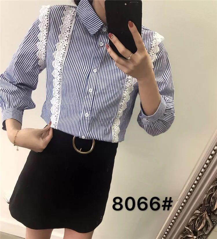 春季新款韩版小清新花边领蕾丝拼接娃娃衫衬衣女套头喇叭袖衬衫潮
