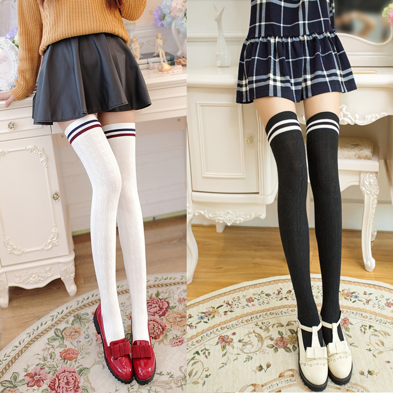 dd3d35eab College wind was thin over the knee socks Japanese students high ...