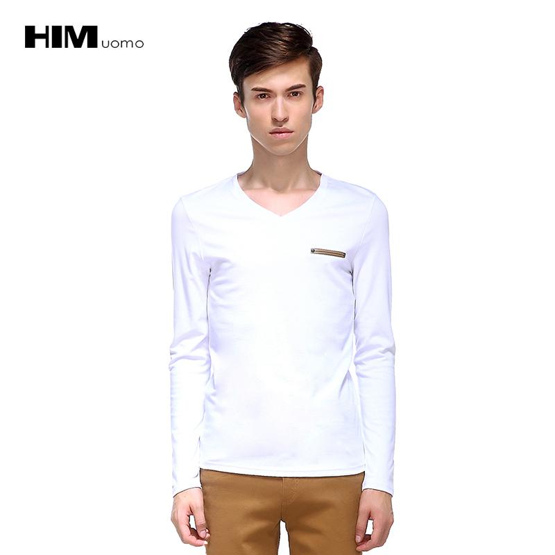 Han wong mùa thu mùa đông mỏng mỏng v- cổ trắng với áo sơ mi dài tay