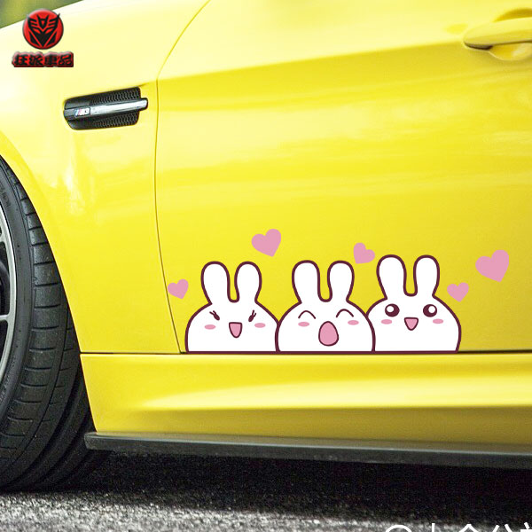 划痕拉花可爱萌贴遮盖贴纸反光实心爱心汽车贴纸圣诞装饰兔子