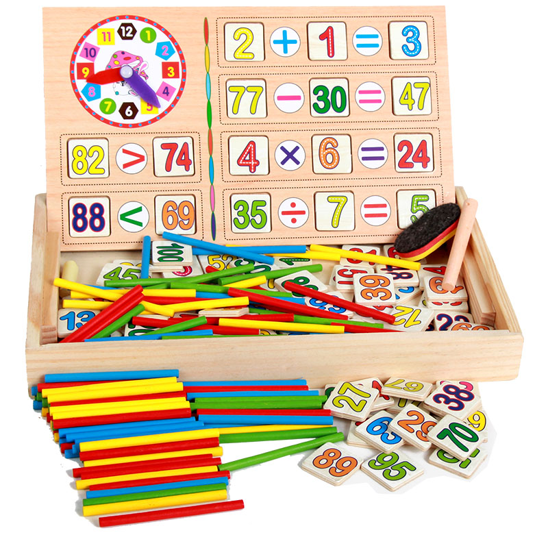USD 11.64] Kids wooden math math number stick numbers operation ...