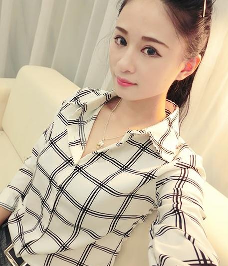 日单透明华夫格方格 双层荷叶边飘逸微透短袖 宽松雪纺罩衫衬衫