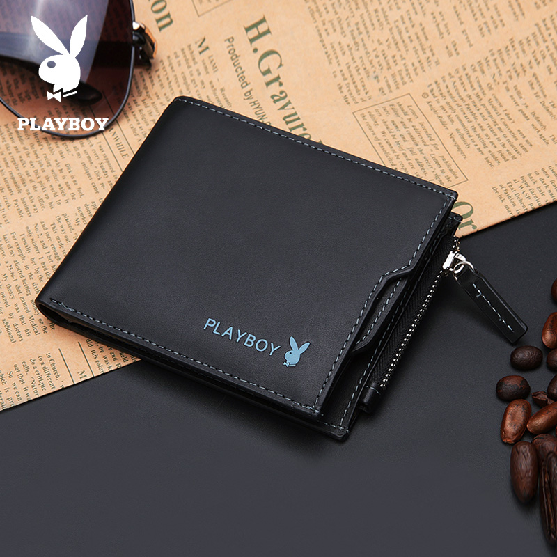 80e478826f5225 PLAYBOY Playboy men's short wallet cross section men's ticket holder casual  first layer leather wallet