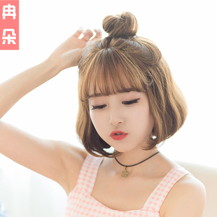 Female hair wig Korean Air bangs grey Bobo repair face grandma headgear fluffy pear head buckle hair set