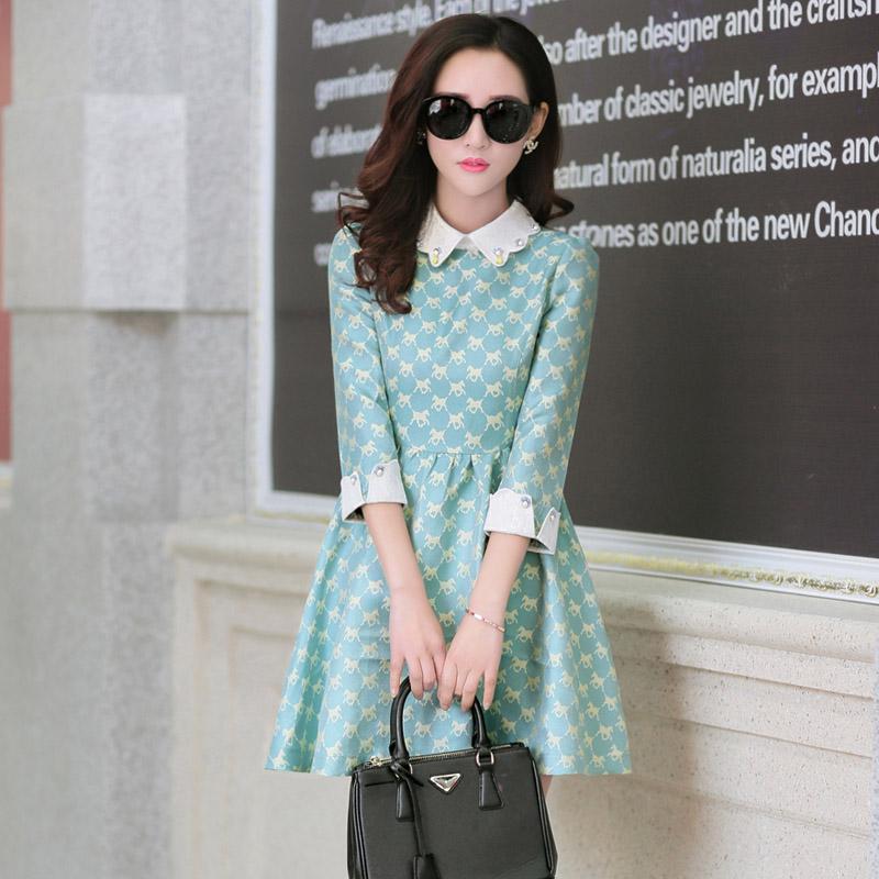 2015春装连衣裙气质领七分袖短款公主娃娃高腰碎花裙子