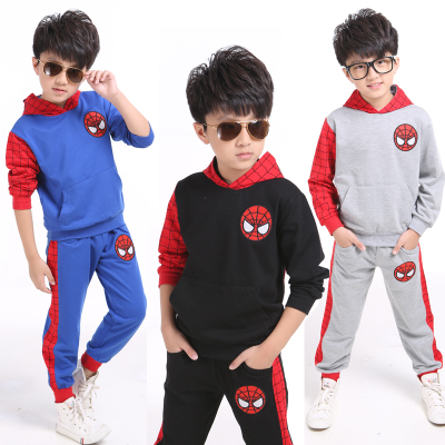 Spring 2017 Spider-Man boys spring children's two-piece suit children's clothing superman pure cotton sweater sports suit