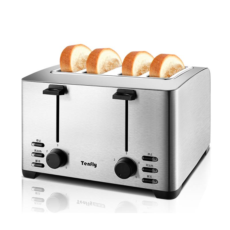 烤面包机家用4片早餐多士炉Tenfly THT-3012B土司机全自动吐司机