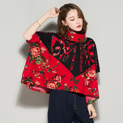 2017 autumn new cotton-linen shirt printing large size women's shirt cloak coat ethnic style arts cover smock