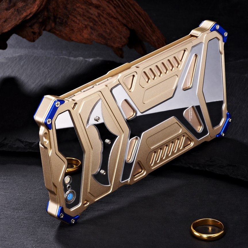 Crescent Knife Batman Stainless Steel Mirror Shockproof Aluminum Metal Case Cover for Apple iPhone 6S Plus/6 Plus & iPhone 6S/6