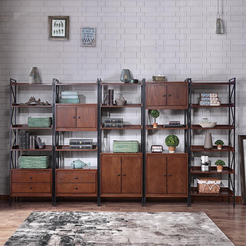 開尚 美式LOFT書架鐵藝置物架落地多層書柜書架自由組合工業風架