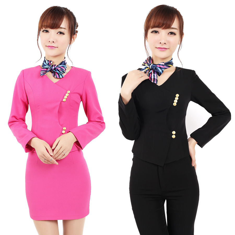 Stewardess Uniforms Professional Suit Beautician Overalls Fall And Winter  Hotel Manager Front Desk Uniforms Skirt Long