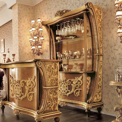 Европейская мебель из массива дерева новый древний классический Особняк на вилле из золотой и серебряной фольги Милан, Италия роскошный Французский винный шкаф