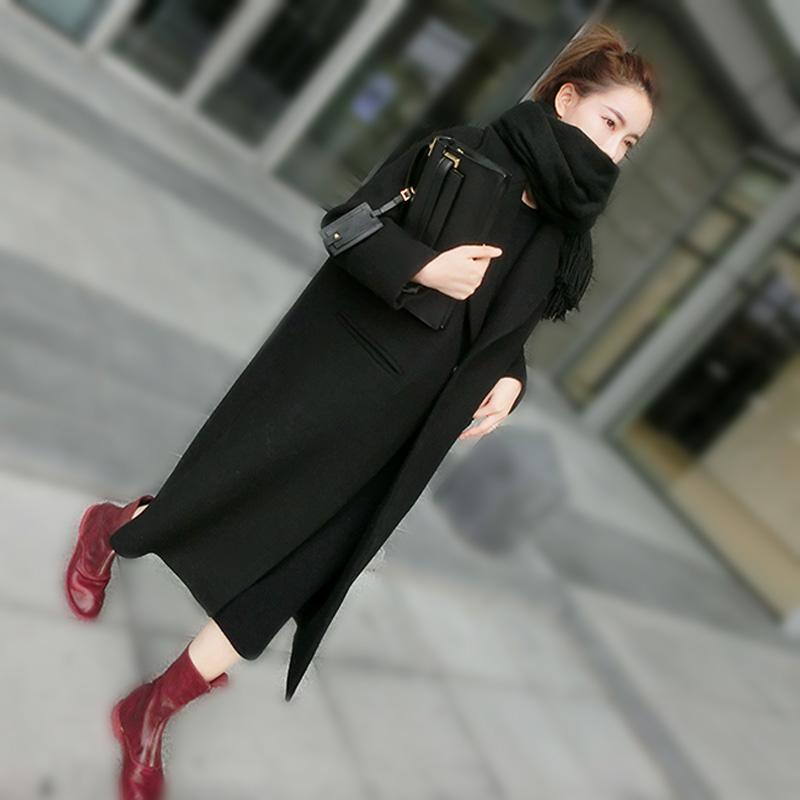2015冬季新款韩版宽松茧型羊毛呢子气质大衣中长款加厚毛呢外套女