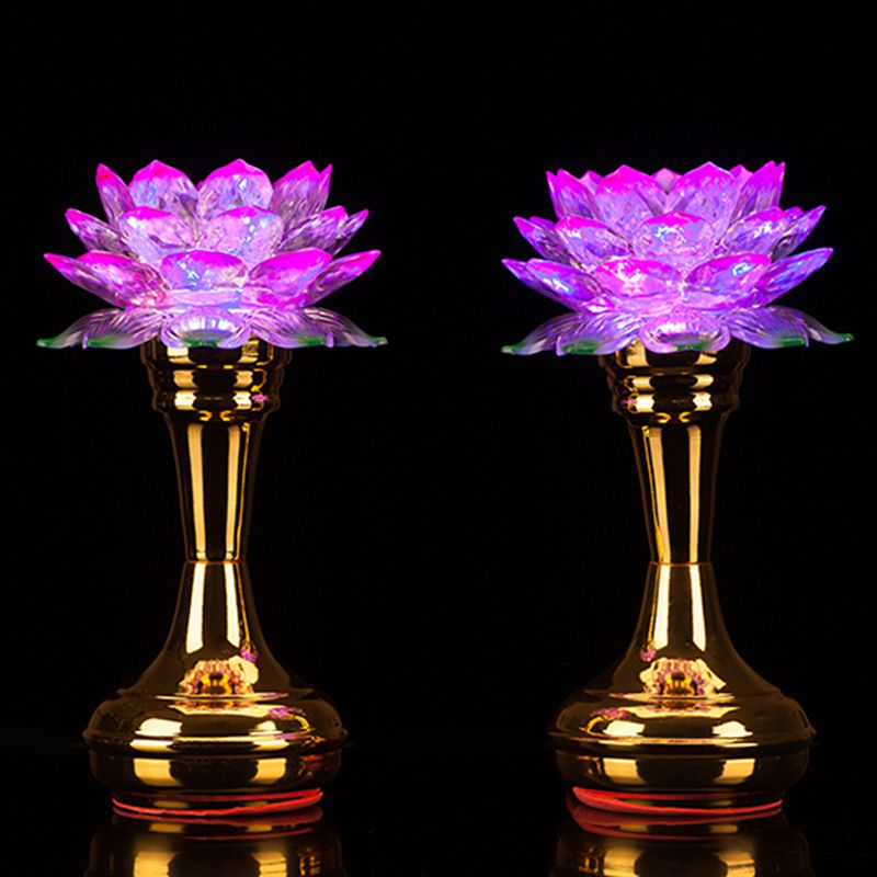 Usd 1946 Buddhist Supplies For Buddha Led Colorful Lotus Lamp Long