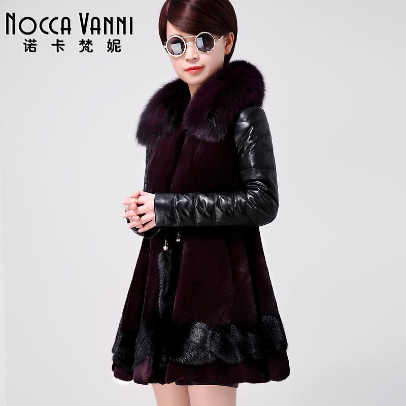 2015冬装新款茧型毛呢外套女中长款加厚韩版獭兔毛领呢子羊毛大衣