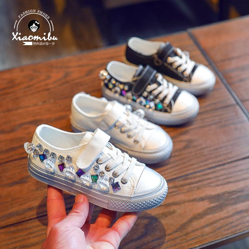 2018 весна новый единый обувной девочки корейский холст обувь дикий удар удаление случайный обувь ребенок мягкое дно ткань обувная