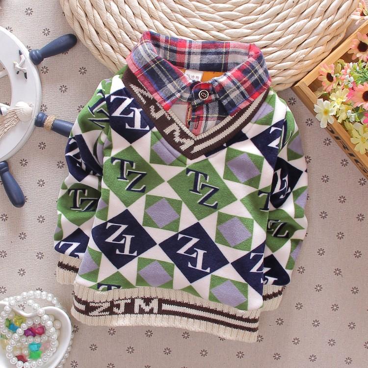 清仓童装男童假两件加厚加绒保暖体恤衫打底衬衫领中大童套头包邮