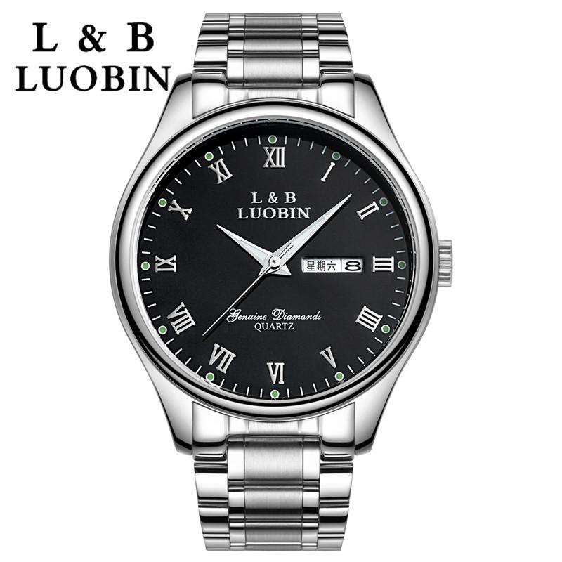 正品罗宾时尚精钢手表男士手表防水商务男表 腕表 石英表 手表男