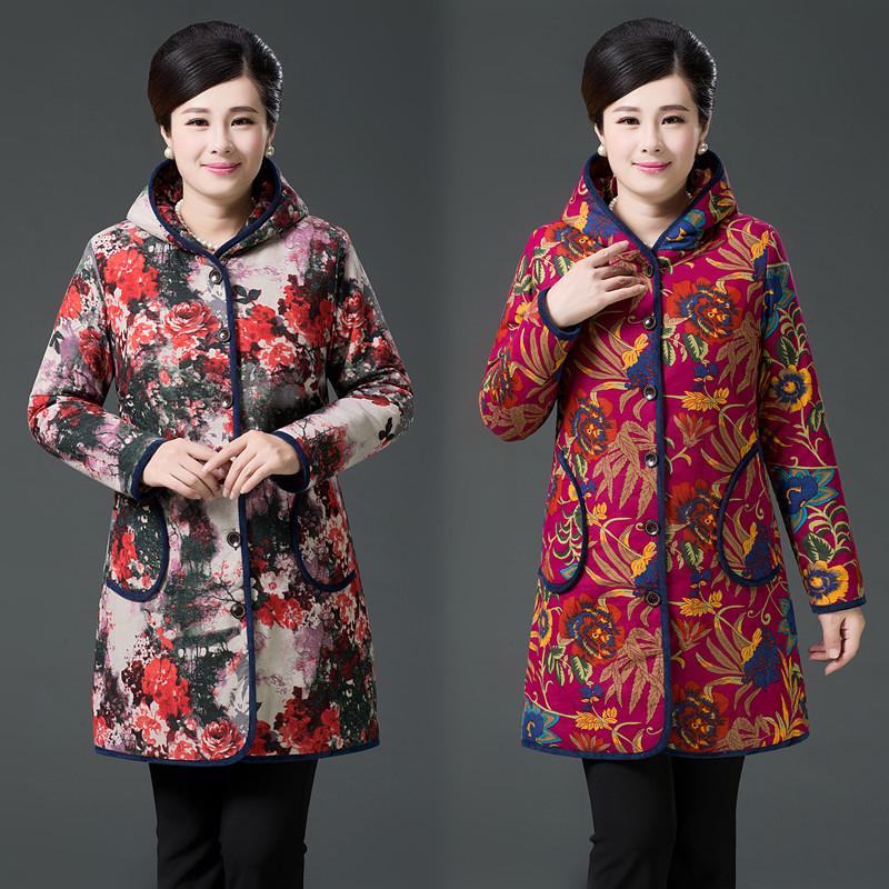 新款秋冬装加棉加厚休闲中长款文艺衬衫女长袖碎花棉麻夹棉衣外套