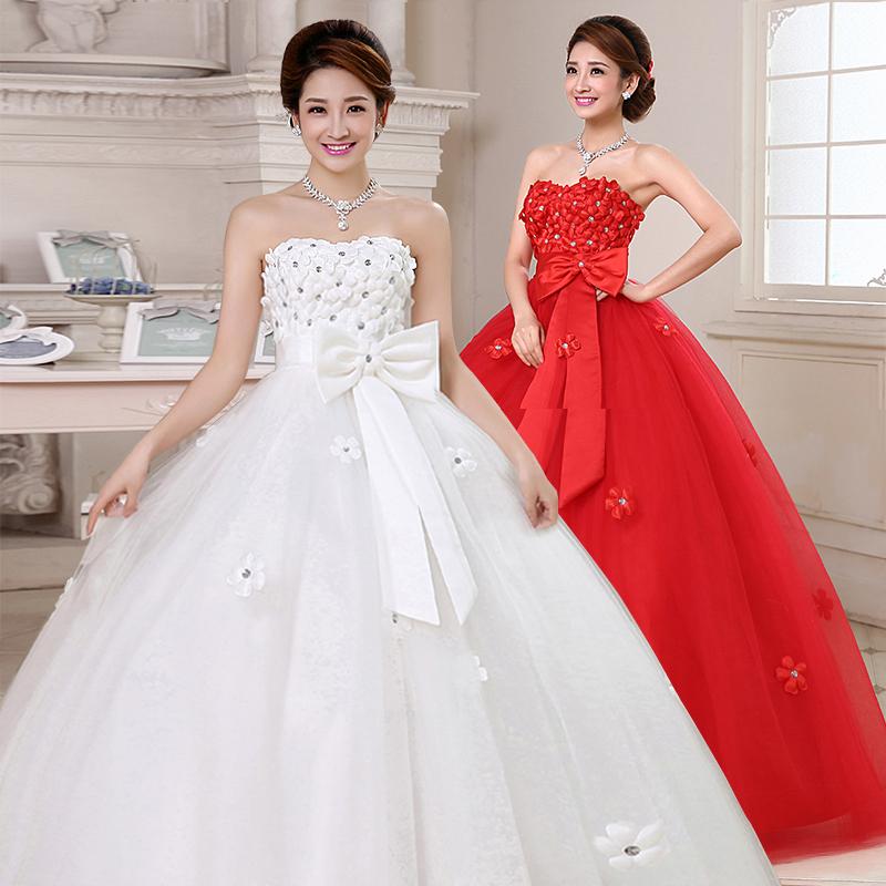孕妇婚纱礼服2015新款冬季新娘结婚红色齐地大码胖mm高腰婚纱