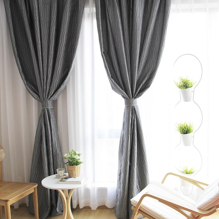 山水窗帘中式古典灰色书房客厅房间个性成品遮光布窗帘布特价清仓