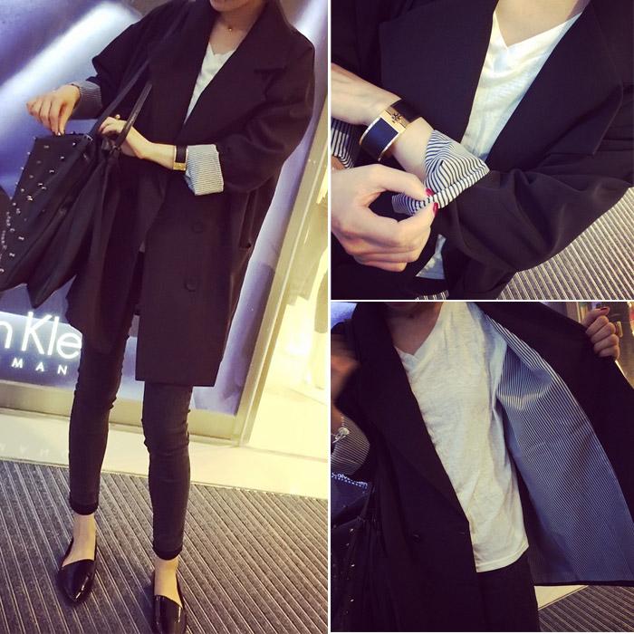 春秋季新款韩版时尚外套百搭双排扣中长款气质v时尚小西装长袖女潮