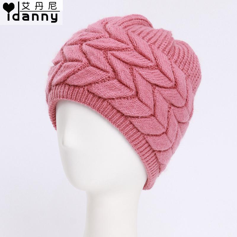 a7e8ea4a6 sombrero de piel de conejo otoño e invierno madre mayor el sombrero hecho  punto doble de espesor de lana del sombrero del invierno de sombreros en  los ...