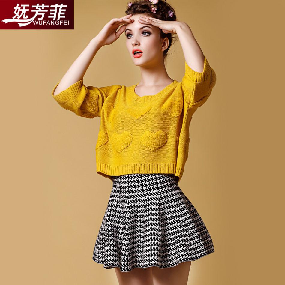 针织镂空毛衣女套头秋七分袖毛线蝙蝠衫v领短款上衣时尚宽松罩衫