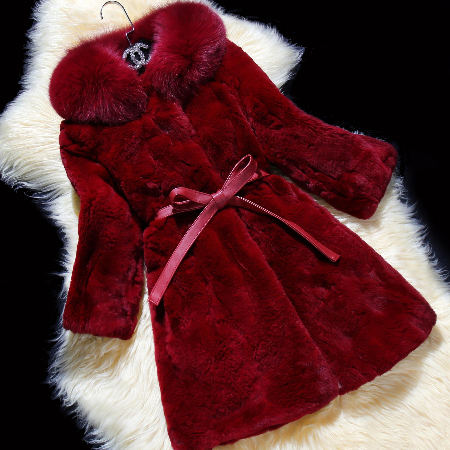 圣莱欣2015秋冬新款獭兔毛皮草外套大衣狐狸毛领女韩版修身中长款