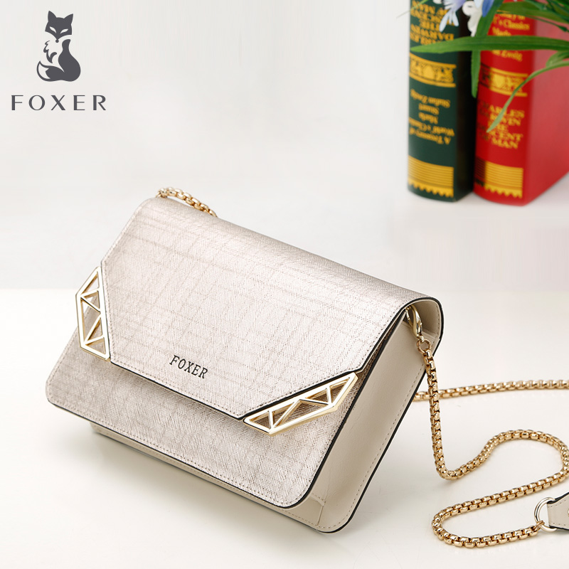 FOXER Golden Fox new leather woman Bao Xiachao minimalist fashion one-shoulder diagonal about the chain small bag