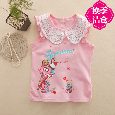 Pakistan BD children's clothing 2017 summer models lace children's cotton stretch bottoming shirt vest blouse FD2B209 EE