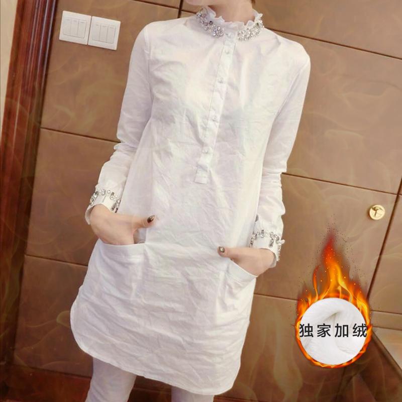 秋冬装女士上衣韩范中长款白衬衫女长袖百搭加绒衬衣学生打底衫
