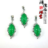 Inlaid women's jewelry accessories wholesale Exquisite natural Malay jade green ladies pendant fashion necklace pendant